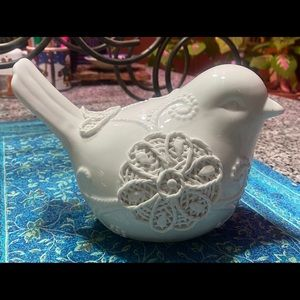 Ceramic bird white decor farmhouse boho EUC unique